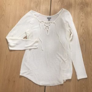 Aerie lace-up textured tee
